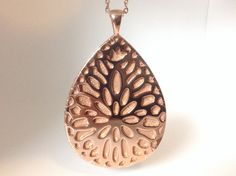 Jawbone Up Move Pendant / Necklace Rose Gold tone Metal and leather