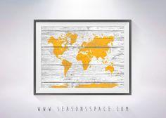 World Map on Wood texture  Art Print, Wall Decor, Rustic Art Decor, Traveler map Explorer gift, World Map on wooden board, Rustic Wall Art
