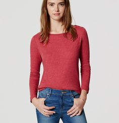 In pure cotton, this soft tee is anything but buttoned up. Boatneck. Long sleeves. Shoulder button trim at one side.