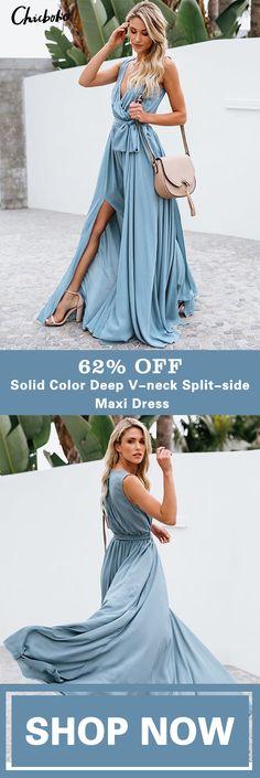 Solid Color Deep V-neck Split-side Maxi Dress Meet a better you with Chicboho dress. Mode Outfits, Dress Outfits, Fashion Outfits, Fashion Trends, Black Outfits, Glamour, Dress Me Up, Latest Fashion For Women, Boho Dress