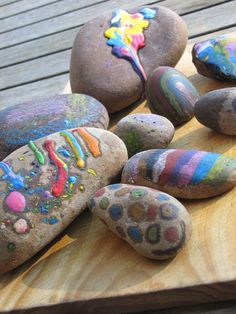 melted crayon rock art - another cool idea. @Chelsea Rooley