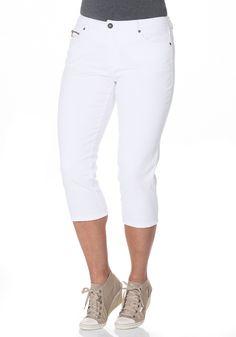 sheego Denim dreiviertel Jeans mit Used-Effekten in weiß. Die sommerliche Länge und die angenehme Stretch-Qualität machen die Hose im Krempelstil zum perfekten Begleiter an jedem Tag.