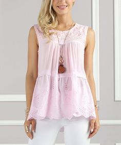 Suzanne Betro Pink Eyelet Lace-Accent Tiered Tank - Plus Too | zulily