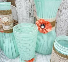 Burlap and Lace Mint Green and Coral SHABBY CHIC by SoFrickinCute, $125.00