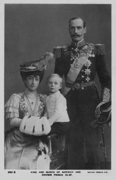Queen Maud and King Haakon of Norway and Crown Prince Olaf