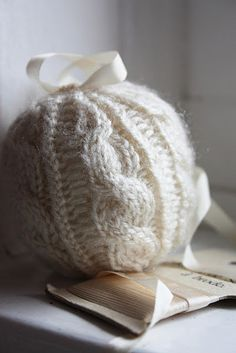 Aran knitted Christmas balls