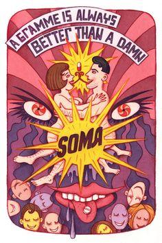 Vitali Konstantinov's Runner-up illustration for Brave New World (Aldous Huxley, 1931) via creativereview.co.uk