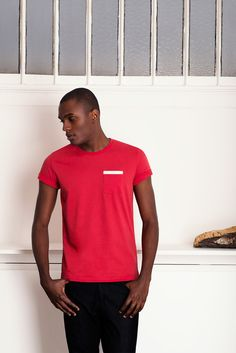 Tshirt Pocket Biais Rouge
