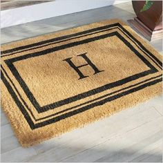 All-Natural Coconut Fiber Coir Doormat 18 X 30 x .75 Entryways Sand Crabs Hand-Stenciled