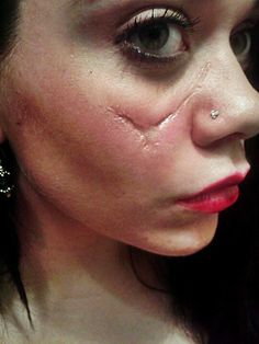 Special fx makeup by Sarah Blood. What a gorgeous scar! So seamless and believable.