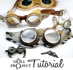 DIY Goggle PDF Tutorial Patterns Aviator Costume Goggles How to make goggle sets for dolls or people costumes. via Etsy. DIY Goggle PDF Tutorial Patterns Aviator Costume Goggles How to… Chat Steampunk, Costume Steampunk, Style Steampunk, Steampunk Crafts, Steampunk Goggles, Steampunk Clothing, Steampunk Fashion, Steampunk Halloween, Steampunk Dolls