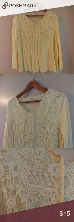 """Pretty Yellow Crochet Peasant Top Pretty Yellow Peasant Top with Crochet Detail  Brand : Tantrums Size : Medium ( Fits more like a large) Color : Pale Yellow  EXCELLENT USED CONDITION.  """"Like New.""""  No rips, Holes or stains.  Only worn a few times. Tantrums Tops Blouses"""
