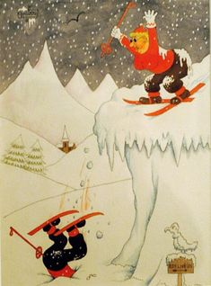 Janvier 1956 by Albert Dubout Albert Dubout, Cute Cartoon, Illustration, Cartoons, Photos, Images, Sports, Cards, January