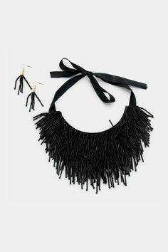"""Layered bead fringe bid necklace set is trendy and stylish.    Measures: 33"""" L; earrings are 2.25"""" L   Fringe Necklace Set by Jems from Jennie. Accessories - Jewelry - Necklaces - Statement Necklaces Virginia"""