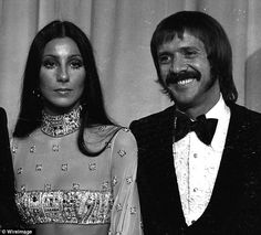 27 march 1973- Singers Cher and Sonny Bono attend 45th Annual Academy Awards