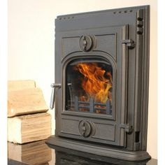 An inset multi-fuel stove.