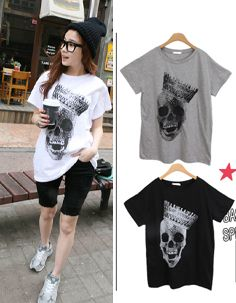 crystal-studded skull with crown printed tshirt  CODE: MGN233  Price: SG $27.75 (US $22.38)