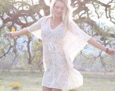 Boho Caftan, Summer Dress, White Kaftan, boho chic, Hippie, Beach Dress, Festival, Gypsy, Boho Maternity, Bridesmaid, S