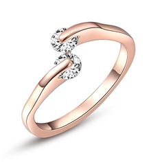 ROXI High Quality Fashion Simple Double Zircon 18k Rose Gold Plated Ring, Set with AAA Zircon Cystal Engagement Wedding Band Ring Luxury and Exquisite Jewelry (7)