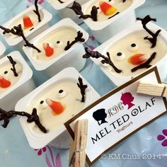 Melted Olaf treats at a Frozen girl birthday party!  See more party planning ideas at CatchMyParty.com!