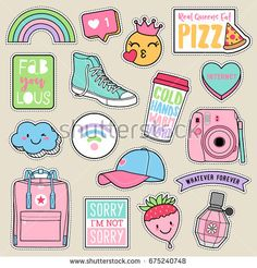 Set of fashion teenage girls patches, cute pastel badges, fun cartoon icons vector in teenager girl concept