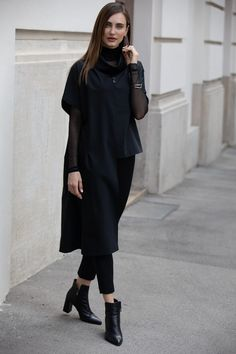 Designer unique black top with half-skirt. For the perfect bontique casual top outfit. By ART POINT womens brand #fashiondiscovery #Art_point #Top #fashion #style #designer_tops #ladies_tops #nice_tops #unique_tops #boutique_tops #tops_fall #outfits_tops #womens_fall_tops #womens_fashion_tops #fall_fashion_tops #casual_tip #black_tops