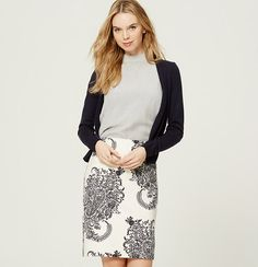 """In smooth stretch cotton doubleweave, this tried-and-true pencil skirt comes to life with a vibrant ivy print. Back zip. Vented back hem. Lined. 22 1/2"""" long."""