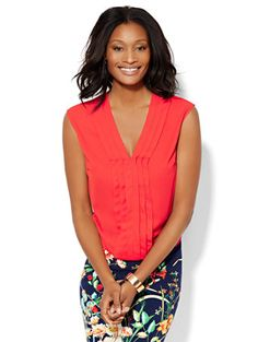Shop 7th Avenue Design Studio Pleated Blouse. Find your perfect size online at the best price at New York & Company.