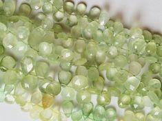 Prehnite Beads. Prehnite Faceted Pear Briolette by gemsforjewels