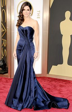 Will Sandra Bullock Add Another Oscar to Her Collection?: Sandra Bullock arrived on the red carpet in a strapless blue dress for her night at the Oscars on Sunday in LA. Oscar Dresses, Prom Dresses, Formal Dresses, Dresses 2014, Bridal Dresses, Bridesmaid Dresses, Sandra Bullock Oscar, Celebrity Dresses, Celebrity Style