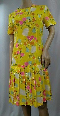 VTG 60s LOOK Super Cute Yellow Floral Print Drop Waist Scooter Dress