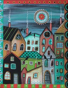 10 PM ORIGINAL CANVAS PAINTING Folk Art Abstract CAT Birds City Town Karla G #FolkArtAbstractPrimitive
