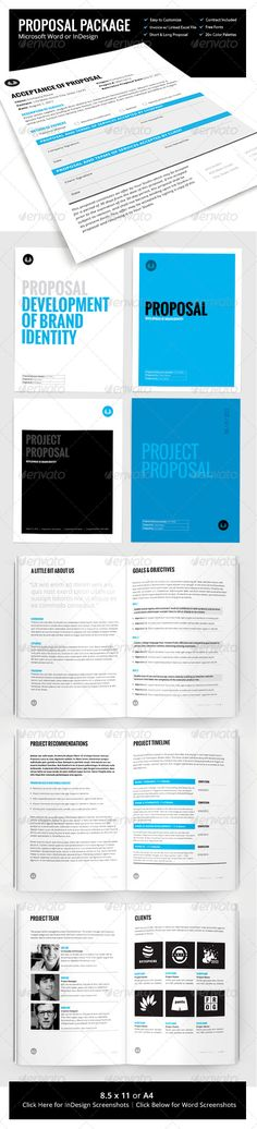 Page Proposal Template - w/ Contract & Invoice - Proposals & Invoices Stationery Graphic Design Brochure, Brochure Layout, Graphic Design Print, Project Proposal Template, Proposal Templates, Timeline Project, Print Layout, Layout Design, Web Design