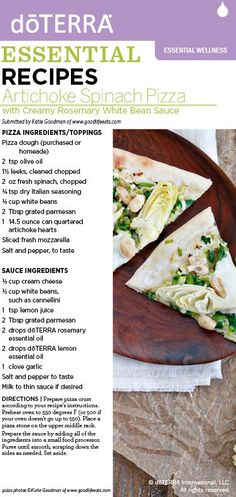 Ask me about doterra essential oils httpmydoterra artichoke spinach pizza with dterra rosemary and lemon essential oils re pinned publicly by forumfinder Choice Image