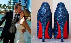 Navy Louboutin Wedding Shoes