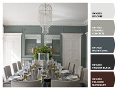 Let the paint color palette in this beautiful dining room inspire your next room makeover.