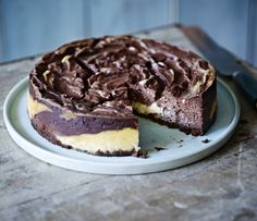 Add a swirl of cocoa to this classic baked American cheesecake from Mary Berry
