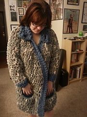 Ravelry: gaylefrancis' Comfort Jacket -- Blanket coat made from Bernat Blanket and with a Q hook.