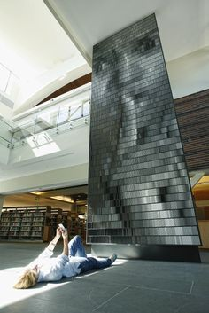 Christian Moeller - Portrait in 12 Volumes of Gray, Public Library Walnut Creek, California 2010  Books and powder coated steel.