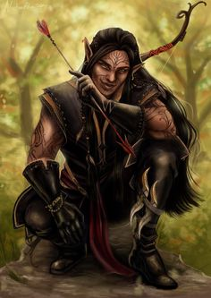 m High Elf Rogue Arcane Trickster Leather Armor Gauntlets Longbow Throwing Daggers male Deciduous forest hills story Ascheron Lavellan Dragon Age Inquisition lg Elf Characters, Dungeons And Dragons Characters, Fantasy Characters, Fantasy Races, Fantasy Rpg, Elf Tattoo, Elfen Fantasy, Digital Paintings, Sterling Archer