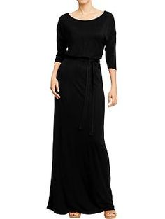 Womens Belted Jersey Maxi Dresses