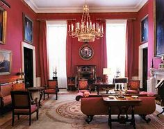 The White House Red Room designed by Stéphane Boudin during the Kennedy administration. Circa 1962