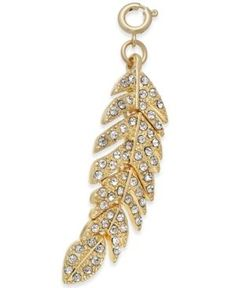 Inc International Concepts Gold-Tone Crystal Feather Charm, Only at Macy's - Gold