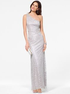 Silver Metallic One Shoulder Gown #CacheStyle