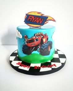 Ideas de Cumpleaños Fiesta Blaze the Monster Machine Torta Blaze, Bolo Blaze, Blaze Cakes, Blaze Birthday Cake, 4th Birthday Cakes, Birthday Ideas, Monster Jam Cake, Blaze And The Monster Machines Cake, Jake Cake