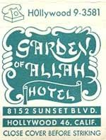 Advertisements for the Garden of Allah Hotel, 8152 Sunset Blvd, Los Angeles to Hollywood Hotel, Vintage Hollywood, West Hollywood, Classic Hollywood, Garden Of Allah, Los Angeles Hollywood, Flea Market Style, Vintage Hotels, Sunset Strip