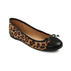 Women's Madeline Ballet Flats Brown - Leopard ($20) ❤ liked on Polyvore featuring shoes, flats, brown, ballet pumps, skimmer flats, leopard flats, ballet shoes flats and brown flats