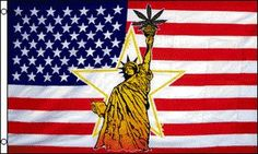 Statue of Liberty with Leaf Traditional Flag