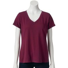 Women's Rock & Republic® High-Low Hem Tee, Size: M, Hibiscus Navy ($18) ❤ liked on Polyvore featuring tops, t-shirts, hibiscus navy, navy top, v neck tee, purple t shirt, short sleeve tops and navy blue t shirt