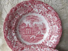 Hey, I found this really awesome Etsy listing at https://www.etsy.com/listing/183631254/vintage-set-of-6-red-transferware-large
